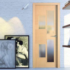 A natural wood internal door.